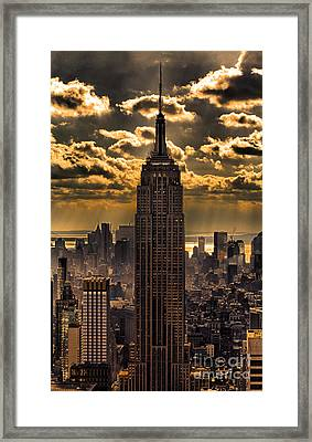 Brilliant But Hazy Manhattan Day Framed Print
