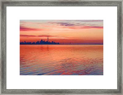 Brilliant Colorful Morning - Toronto Skyline Impressions Framed Print by Georgia Mizuleva
