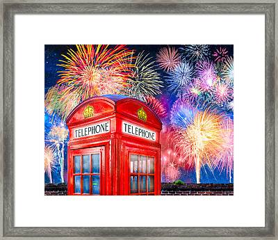 Brilliant Fireworks Over A Classic British Phone Box Framed Print by Mark E Tisdale