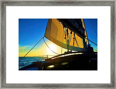 Brilliant Sunset Sail Framed Print