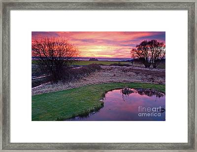 Brilliant Sunset With Pond Landscape Framed Print