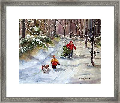 Bringing Home The Christmas Tree Framed Print by Carole Powell
