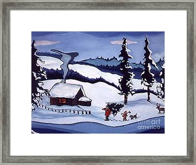 Framed Print featuring the painting Bringing Home The Tree by Joyce Gebauer