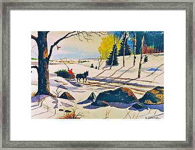 Bringing Home The Tree Framed Print by Raymond Edmonds