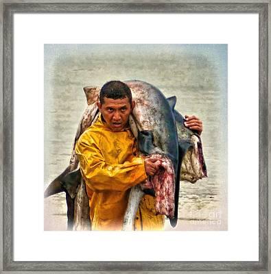 Bringing In The Catch - Manta - Ecuador Framed Print by Julia Springer