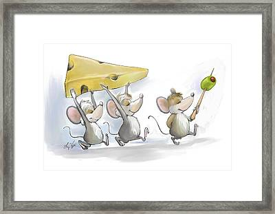 Bringing In The Cheese With Olives Framed Print