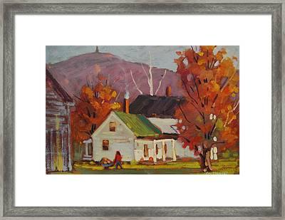 Bringing In The Firewood Framed Print by Len Stomski