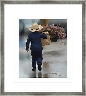 Brining It Home To Mom Framed Print by Bob Salo
