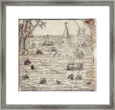 Bristol Channel Floods, 1607 Framed Print by British Library