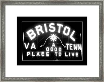 Bristol Virginia Tennesse Slogan Sign Framed Print