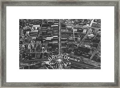 Bristol Virginia Tennessee Early Aerial Photo Framed Print