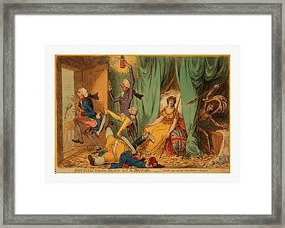 Britannia Between Death And The Doctors, Gillray, James Framed Print by English School