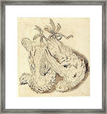 British 18th Century, Two Dead Chickens, 18th Century Framed Print