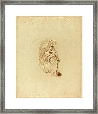 British 19th Century, Holy Family With Angels Framed Print by Quint Lox
