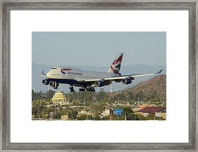 British Airways Boeing 747-436 G-bnlx Landing Phoenix Sky Harbor March 10 2015 Framed Print by Brian Lockett