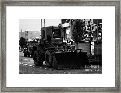 British Army Earth Moving Equipment Parked On Albertbridge Road During Loyalist Violence Belfast Nor Framed Print by Joe Fox