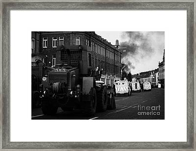 British Army Earth Moving Equipment Parked On The Albertbridge Road Just Short Of Loyalist Rioters B Framed Print by Joe Fox