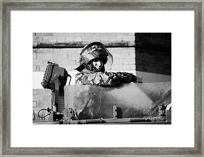 British Army Soldier In Hatch Of Armoured Land Rover On Crumlin Road At Ardoyne Shops Belfast 12th J Framed Print by Joe Fox