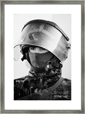 British Army Soldier With Helmet And Riot Gear On Crumlin Road At Ardoyne Shops Belfast 12th July Framed Print