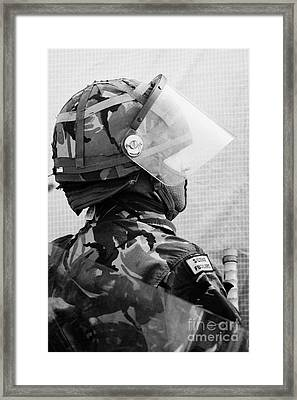 British Army Soldier With Helmet Riot Gear On Crumlin Road At Ardoyne Shops Belfast 12th July Framed Print