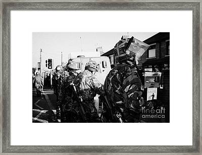 British Army Soldiers In Riot Gear Stand Guard On Crumlin Road At Ardoyne Shops Belfast 12th July Framed Print