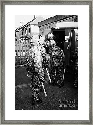 British Army Soldiers Pack Up Riot Gear On Crumlin Road At Ardoyne Shops Belfast 12th July Framed Print
