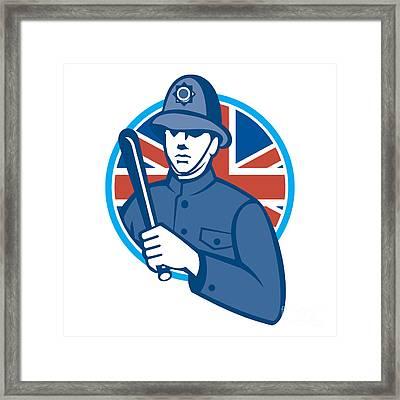 British Bobby Policeman Truncheon Flag Framed Print by Aloysius Patrimonio