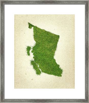 British Columbia Grass Map Framed Print by Aged Pixel