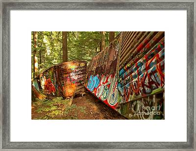 British Columbia Train Wreck Box Cars Framed Print by Adam Jewell