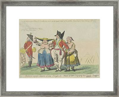 British Commander With Two Dutch Prostitutes Framed Print by Isaac Cruikshank And Samuel W. Fores