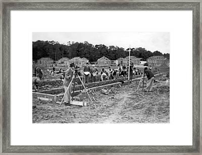 British Construction Scene Framed Print