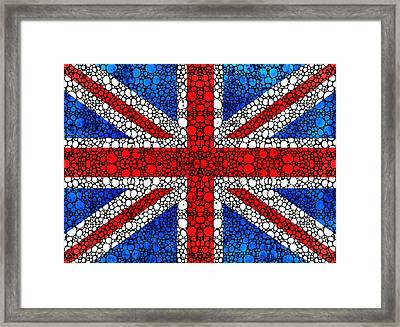 British Flag - Britain England Stone Rock'd Art Framed Print by Sharon Cummings