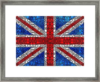 British Flag - Britain England Stone Rock'd Art Framed Print