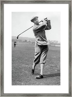 British Golfer Sir Ernest Holderness Swinging Framed Print by Artist Unknown