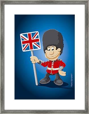 British Royal Guard Cartoon Man Framed Print by Frank Ramspott