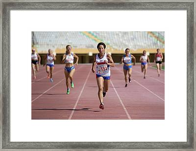 British Senior Athlete Leads The Race Framed Print by Alex Rotas