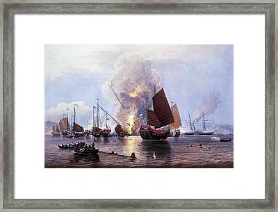 British Ships Destroying An Enemy Fleet In Canton Framed Print by Anonymous