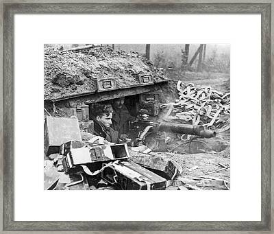 British Soldiers With A Vickers Machine Gun Give Support To Adva Framed Print by Underwood Archives