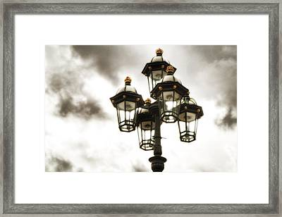 British Street Lamp Against Cloudy Sky Framed Print