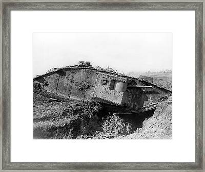 British Tank Crossing A Trench Framed Print