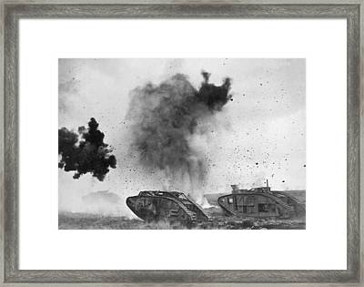British Tanks In Wwi Battle Framed Print by Underwood Archives