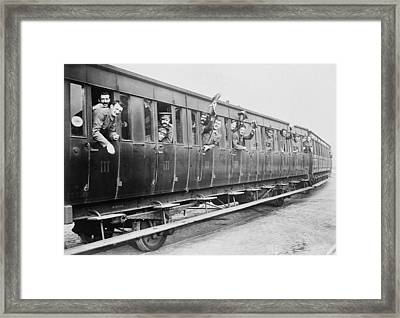 British Troops On A Train Framed Print by Library Of Congress