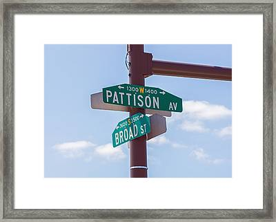 Broad And Pattison Where Philly Sports Happen Framed Print by Photographic Arts And Design Studio