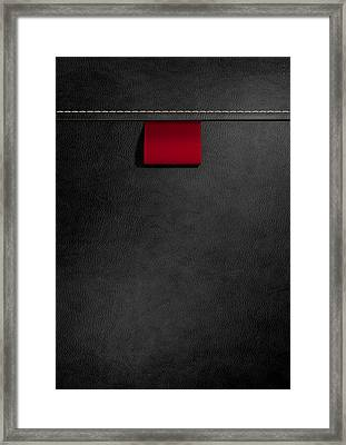Broad Clothing Label In Black Leather Framed Print by Allan Swart