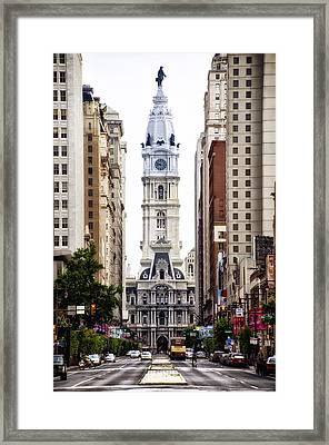 Broad Street And City Hall Framed Print by Bill Cannon