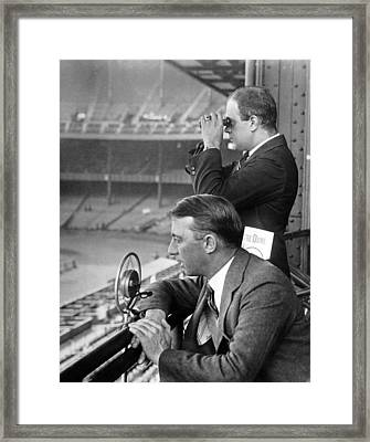 Broadcasting A Football Game Framed Print by Underwood Archives