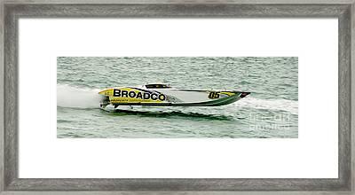 Broadco Race Boat Framed Print by Jon Neidert