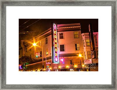 Framed Print featuring the photograph Broadway At Night by Suzanne Luft