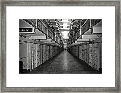 Broadway Walkway In Alcatraz Prison Framed Print by RicardMN Photography