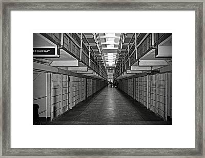 Broadway Walkway In Alcatraz Prison Framed Print
